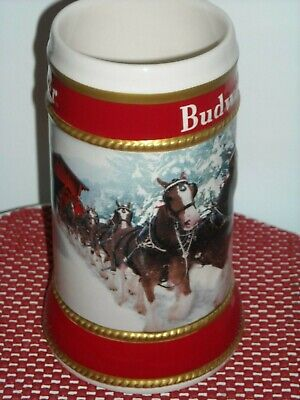 AUTHENTIC 2019 Budweiser Anheuser Busch  Holiday Christmas Beer Stein  w/Box ..