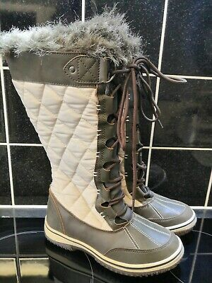 ALPINE Ladies/Girls Quilted Faux Fur Lined Quilted Boots*Sz UK 3*Brown/Cream*Gco