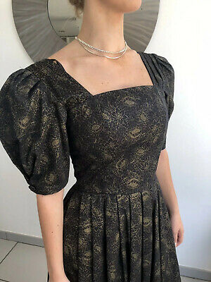 Vintage Laura Ashley Black Thistle Design Prairie Dress Unworn Puff Sleeve
