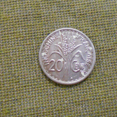 1941 French Indochina  Silver 20  Centime Coin