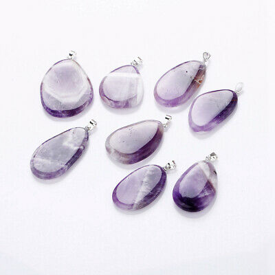 1 PC Natural Amethyst Healing Crystal Stone Ribbon Rope Necklace Pendant Jewelry