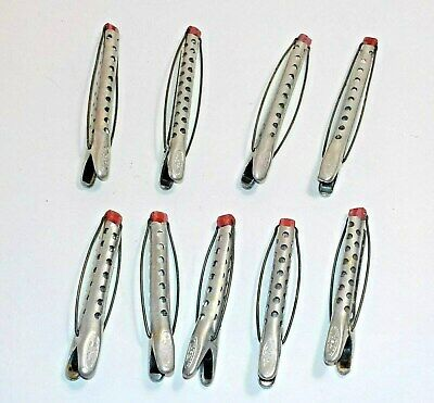 "Vintage Tip Top Metal Curlers Red Rubber Closure Lot Of 9 Curlers 3"" to 3-3/4"""