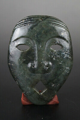 One Fine Chinese Ancient Hongshan Culture Jade Carving Mask Pendants 0016