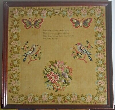 Antique NEEDLEWORK SAMPLER Piece with Birds & Butterflies VV125