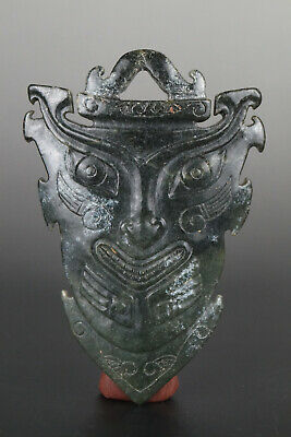 One Fine Chinese Ancient Hongshan Culture Jade Carving Beast Face Pendants 0012