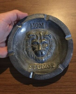 MGM Studios Ash Tray Antique Style Solid Metal Metro Goldwyn Mayer Patina Movie