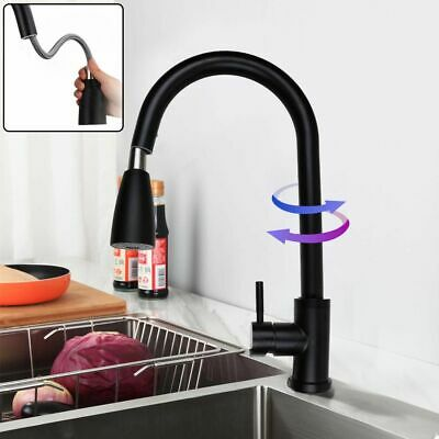 Kitchen Basin Sink Faucet Pull Down Spout Mixer Filler Tap Single Hole w/ Cover