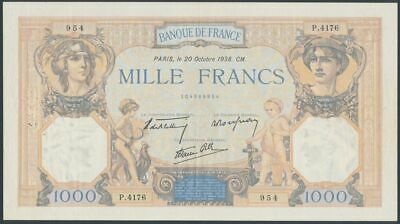 France 1938 1000 Francs P-90c aUNC with usual pin holes Attractive Large Note
