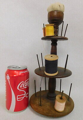 Antique Wood Trammer Sewing Rack Spool Holder Notions Pin Cushion Stand