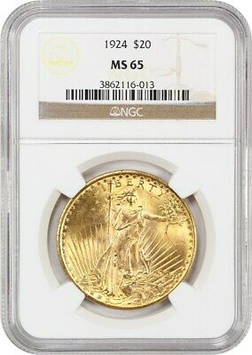 1924 $20 NGC MS65 - Saint Gaudens Double Eagle - Gold Coin
