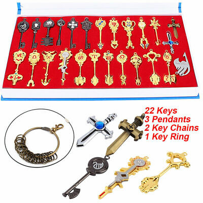 10PC Attack on Titan Emblems Keychains Key Necklace And Sword Collection Gift NW