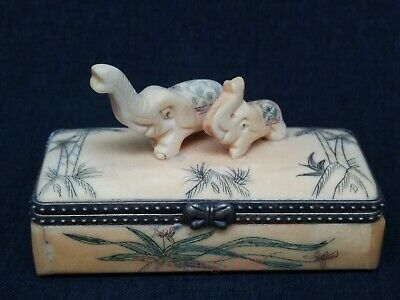 Collection Old Chinese Tibet Hand-carved Elephant Jewelry Box Wonderful Gift
