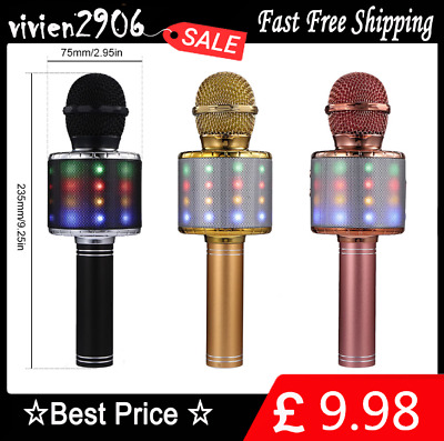 LED Handheld Wireless Bluetooth Karaoke Microphone USB KTV Player MIC Speaker @#