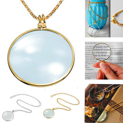Pocket 30X Magnifier Jeweller Necklace Reading Glass Loop Lens Magnifying Loupe