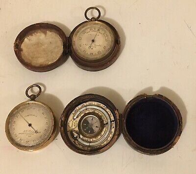 Antique Pair of London  Pocket Barometer/Altimeter Thermometers As Found.