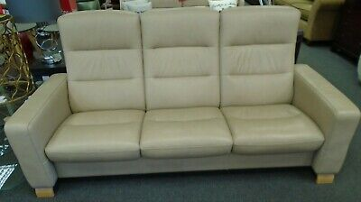 Ekornes Stressless Wave Tan Leather High Back Three Seater