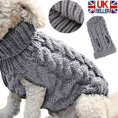 Fashion Knitted Puppy Dog Jumper Sweater Pet Clothes For Cats Dogs Coat UK Stock