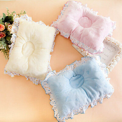 Newborn Infant Lovely Lace Pillow Anti Flat Head Velvet Neck Support Cush Perfec