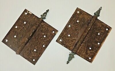 Antique VTG Art Deco Door Hinges Set Heavy Pair Large Nouveau Ornate Hardware NR