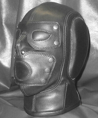 Genuine leather Gimp mask air tight hood with Blindfolds and mouth gag bondage