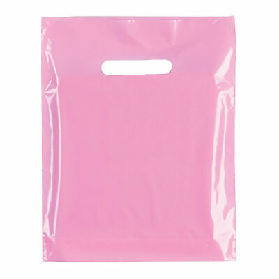 """100x Baby Pink Plastic Carrier Bags Plastic Shopping Carrier Bag 10"""" x 12"""" x 4"""""""