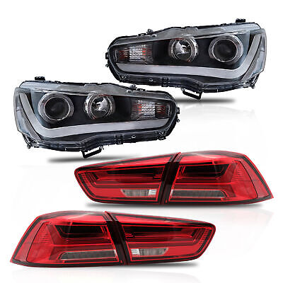 Halo Projector LED Headlights DUAL BEAM+RED Clear Taillights for 08-17 Lancer