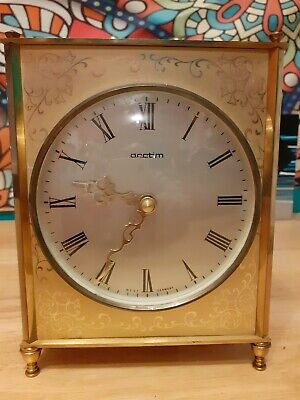 Vintage Acctim Quartz Carriage Mantel Clock Brass Ornate Engraving Onyx Working