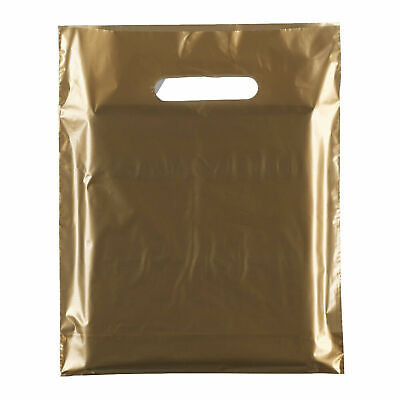 """100x Gold Plastic Carrier Bags Plastic Shopping Carrier Bags - 15"""" x 18"""" x 3"""""""
