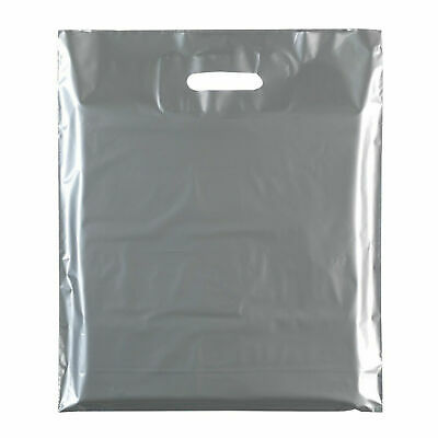 """100x Silver Plastic Carrier Bags Plastic Shopping Carrier Bags - 15"""" x 18"""" x 3"""""""
