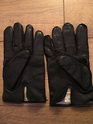 Vintage Pair Of BHS Black Leather Gloves Size 9 1/2 Good Condition Viloft Lining