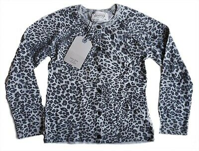 ZARA Girls Cardigan Fine Knitted Long Sleeved Animal Leopard Print Top 5-6 11-12