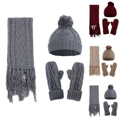3Pcs Women Winter Thick Knitted Hat Scarf And Gloves Set Warm Beanie Cap Scarves