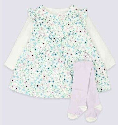 New Baby Girls Ex M&S Floral Dress Tights Outfit Marks And Spencer Newborn - 12m