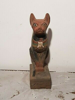 Rare Antique Ancient Egyptian Statue God Bastet Horus Protection 1740-1650BC