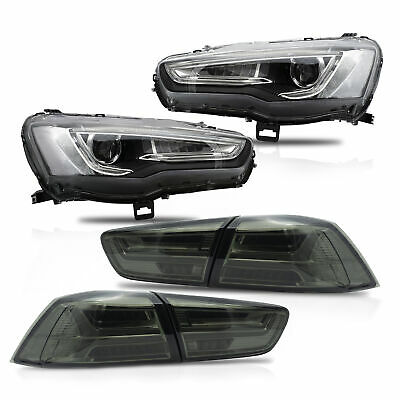 SPRAY LACQUER Dual Beam LED Headlights+SMOKE Taillights for 2008-2017 Lancer