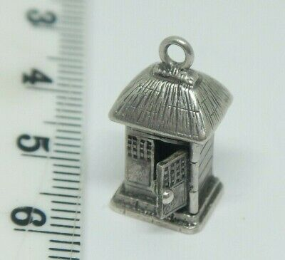 Antique Chinese Export Silver Miniature House Charm With Opening Door~Signed