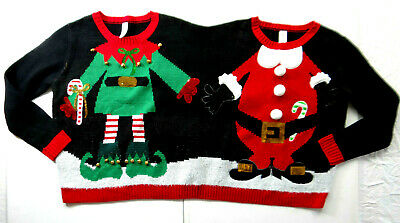 CHRISTMAS Sweater Holiday Time Two Person Sweater (Adult Small) Santa & Elf_#321