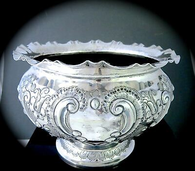 Victorian 1890s ATKIN BROTHERS SHEFFIELD Repousse Silverplate FOOTED PUNCH BOWL