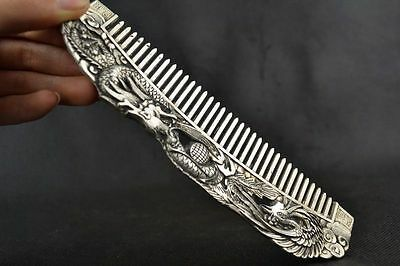 Collectible Handwork Old Miao Silver Carving Dragon Phoenix Wonderful Comb