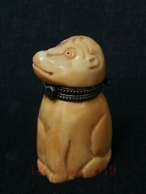 Collection Old China Tibet Hand-carved Lovely Monkey Statue Snuff Box Trinket