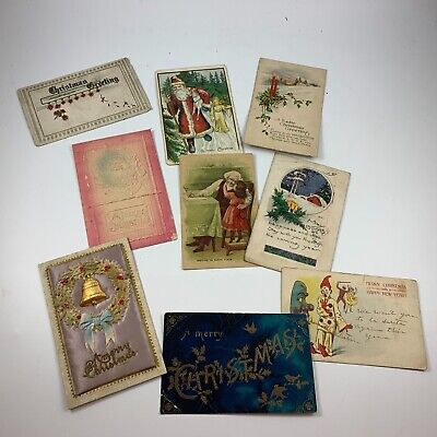 Lot Of 9 Antique/Vintage Early 1900's Christmas Postcards Some With Santa Claus