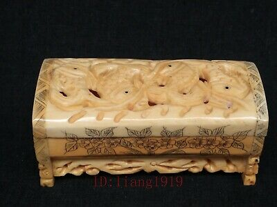 Collection Old Chinese Tibet Hand-carved Lovely Fish Statue Jewelry Box Trinket