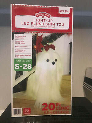 "Christmas Light-Up LED Plush Shih Tzu Dog 20"" In/Out Yard Decoration"