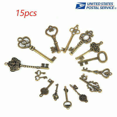 Lot 15 Antique Vintage Old Look Bronze Tone Pendants Jewelry Mix Skeleton Keys