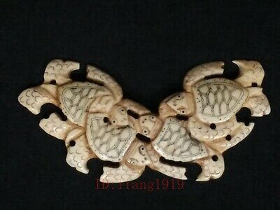 Collection Old Chinese Tibet Hand-carved Lovely Turtle Statue Pendant Netsuke