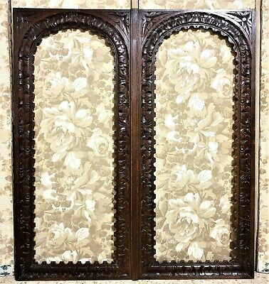 Pair gothic rosette carving cabinet door Antique french architectural salvage