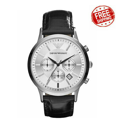 Uk New Genuine Emporio Armanii Mens Ar2432 Watch Silver Dial Leather Strap