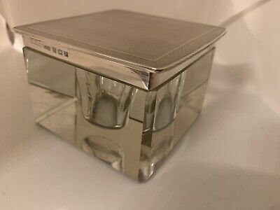 1930s Art Deco Silver Mounted Glass Desk Top Inkwell Henry Matthews B'ham 1930