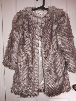 Marks And Spencer's Autograph Girls Fully Lined Faux Fur Coat Age 9 To 10 Years