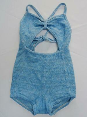 Vintage Girls Swimsuit 1930s Bathing Suit Swimming Thick Woven Fabric Pale Blue